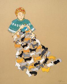 knitting cats - red prairie press