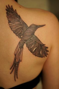 Beautiful And Different lined hummingbird tattoo