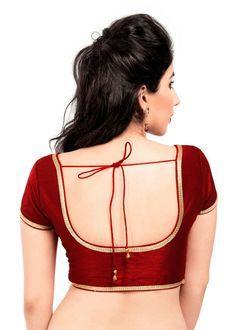 Crimson Maroon Dupion Silk Stitched Blouse