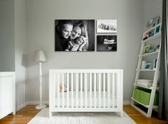 Love that shelf! And the pictures able the bed. Perfect small space for baby.