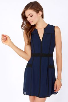 Double the Fun Black and Navy Blue Dress at LuLus.com!