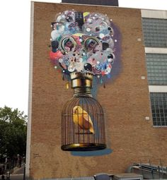 Colin Van Der Sluijs, Super-A, imaginative street art, graffiti art, street… Street Art Love, Urban Street Art, Best Street Art, Amazing Street Art, Urban Art, Amazing Art, Murals Street Art, Street Art Graffiti, Illustrations