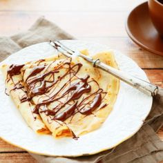 Delicious Chocolate Drizzled Crepes