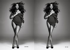 """Photoshop: Before & After  I think she's beautiful in the """"before""""...the """"after"""" Photoshop is just sooo unrealistic!!  #ijs"""