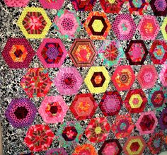 Modern Twin Quilt in Pinks and Black Hexagons by uniquelynancy