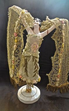 Standing Porcelain Flapper Doll Hands Away Antique Metallic Lace & Ribbonwork
