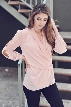 #Gorgeous dusting pink surplice #blouse with cut out sleeves     Shop this product here: spree.to/yft   Shop all of our products at http://spreesy.com/theyovettagroup      Pinterest selling powered by Spreesy.com