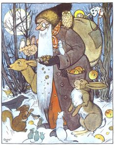 Festive scene with Father Christmas from a picture book - 'The Christmas Angels' - by Else Wenz-Viëtor