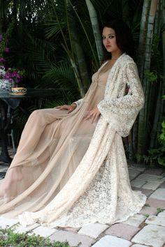 Wedding Lingerie Ivory Dream Lace Robe Bridal Sleepwear Angel Sleeve Ivory Lace Boudoir Trousseau Sarafina Dreams 2012 Bridal. $175.00, via Etsy.
