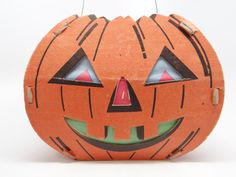 Vintage 1940's Halloween Lantern Diecut Cardboard by exploremag
