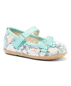 Another great find on #zulily! Teal Floral Butterfly-Accent Mary Jane #zulilyfinds