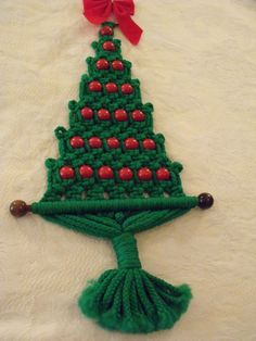 Handmade Retro BOHO Chic Macrame' Wood Beads Christmas Tree Wall Hanging 26""