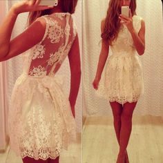 Lace Hollow Sexy Backless Dress