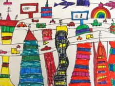 Futuristic Cityscape from Deep Space Sparkle~Use white sulfite or drawing paper, black markers, and colored markers. Draw several tall buildings that touch the bottom of the paper first, then draw a highway behind them, then draw more buildings behind the highway. add details and color.