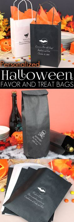 Treat bags, goodie bags and wine bags personalized with choice of fun Halloween design and up to 4 lines of custom print are perfect for handing out candy to trick-or-treaters or favors and snacks to guests at your Halloween party this year. Use for handing out prizes for your Halloween party games. Send guests home with extra food and snacks when the party is over. These bags and more can be ordered at http://myweddingreceptionideas.com/halloween_goodie_treat_bags.asp