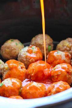 Slow Cooker Buffalo Chicken Meatballs | F o o d t o t a s t e