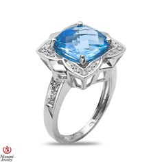 Ebay NissoniJewelry presents - Ladies .04CT Diamond Fashion Ring with Blue Topaz in 10k White Gold    Model Number:FR7716A-W077BT    http://www.ebay.com/itm/Ladies-.04CT-Diamond-Fashion-Ring-with-Blue-Topaz-in-10k-White-Gold/221630396867
