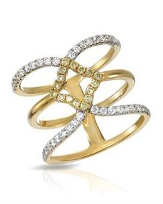 ESME Ring with 0.76ctw Genuine Fancy Intense Yellow enhanced Clean Diamonds 18K Yellow Gold. Total item weight 6.7g.