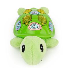 E-SCENERY Cute Animal Shapes Baby Sleeping Comfort Plush Toy With Music Light Plush Rattle Animal Squeaker Doll Portable Soother Stuffed Animal (Tortoise)