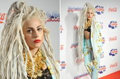 Sorejomin Barta - Lady Gaga wears bra and huge dreadlocks on the Capital FM Jingle Bell Ball red carpet