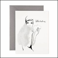Hello, Darling Cards by Garance Doré for Rifle Paper Co. Rifle Paper Co, Mail Art, Watercolor Illustration, Watercolour, Decoration, Paper Goods, Note Cards, Stationery, Greeting Cards