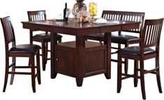 New Classic Kaylee Brown 5-Piece Counter-Height Dining Set | Homemakers Furniture