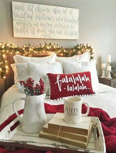 holiday home Trendy amp; Cozy Christmas Bedroom Decorating Ideas, holiday home decor, decorations Diy Christmas Decorations Easy, Homemade Decorations, Minimalist Christmas, 242, Farmhouse Christmas Decor, Outdoor Christmas, Home Decor For Christmas, Apartment Christmas, Natural Christmas