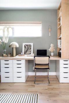Bedroom Office Combo, Guest Bedroom Home Office, Spare Room Office, Ikea Home Office, Home Office Space, Desk In Bedroom, Ikea Office Hack, Basement Home Office, Tiny Office