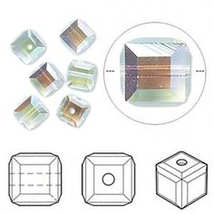Bead, Swarovski crystal, light azore AB, 6x6mm faceted cube (5601). Sold per pkg of 6.