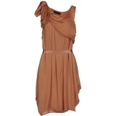 Twin-set Simona Barbieri Short Dress (€140) ❤ liked on Polyvore featuring dresses, skin colour, short dresses, short brown dress, brown dress, brown sleeveless dress and sleeveless dress