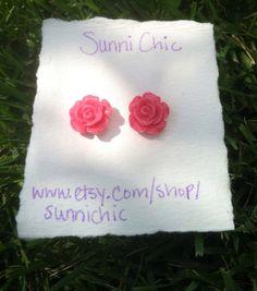 Pink Open Rose Flower Earrings Stud Earrings by SunniChic on Etsy, $5.00