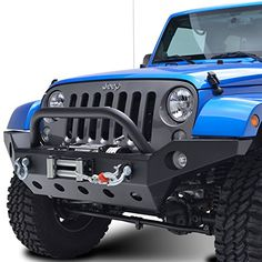 E-Autogrilles 51-0360FBA 07-16 JK Wrangler Rock Crawler Full Width Front Bumper With Fog Lights Hole and Winch Plate-Textured Black