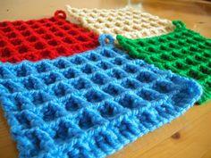 ワッフル編み Crochet Crafts, Free Crochet, Knit Crochet, Handicraft, Blanket, Knitting, Pattern, How To Make, Handmade