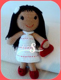 muñeca amigurumi,peluche muñeca, tejida por artesesa
