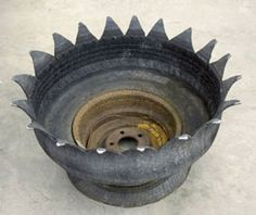 planter made from an old tire
