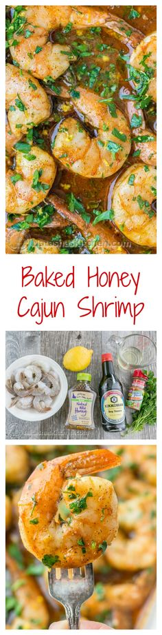 Baked Honey Cajun Shrimp - Easy and addictive! Great over potatoes, rice, or pasta. Baked Shrimp Recipes, Fish Recipes, Seafood Recipes, Cooking Recipes, Healthy Recipes, Honey Recipes, Honey Shrimp, Cajun Shrimp, Asian Shrimp