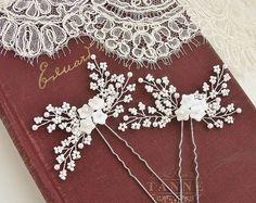 Blanco perla horquillas, horquillas para el cabello nupcial bebé de respiración, accesorio del pelo de la boda, con cuentas novia pedazo del pelo, horquillas de vides oro perla