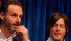 Oh my goodness! Tongue porn. Andrew Lincoln and Norman Reedus