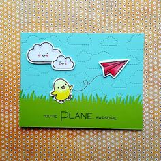 """A friendship card that I made with the """"Plane and Simple"""" stamp set from """"Lawn Fawn""""."""