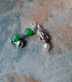 Silver Buddah charm with green marble glass beads and silver lobster clasp phone charm/ key chain/ bag accessories/ zipper charm by SpryHandcrafted on Etsy Handmade Bags, Handmade Bracelets, Beaded Bracelets, Gifts For Mum, Gifts For Women, Selling On Pinterest, Silver Charms, Bag Accessories, Glass Beads