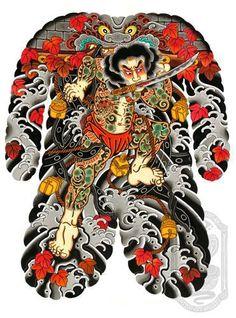 Suimon Yaburi by David Ramirez Chest Tattoo Japanese, Japanese Tattoo Designs, Demon Tattoo, Samurai Tattoo, New Age Tattoo, Daruma Doll Tattoo, Tattoo Tradicional, Geisha, Back Piece Tattoo