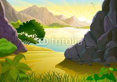 Lever de soleil sur un lac de montagne