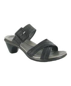 Look at this #zulilyfind! Brushed Black Marvel Leather Sandal #zulilyfinds