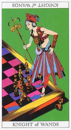 Love and Mystery Tarot by Yoshitaka Amano: Knight of Wands