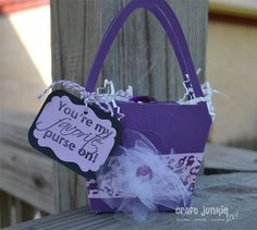 """Purse design from Forever Young Cricut cartridge -- sentiment """"Girlie Sayings"""" by My Pink Stamper. #Cricut #MyPinkStamper"""