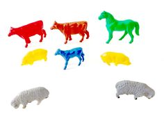 Plastic Farm Animals Small Toy Lot Colorful Red Cow Brown Yellow Pigs Blue Calf Green Horse Gray Sheep Vintage Toy Animal Figures Variety by CollectionSelection on Etsy, SOLD