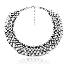 Fun Daisy Grand UK Princess Kate Middleton Hot Silver Rhinestone Fashion Necklace - xl00941-S * See this great product.