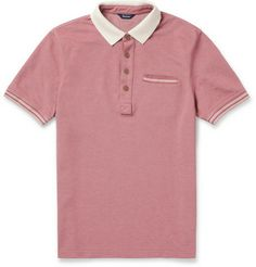 Faconnable Contrast Collar Cotton Pique Polo Shirt            MR PORTER