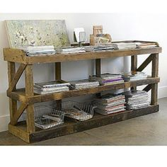Pallet sofa table -Fav so far. But I'm thinking about painting it bright red?