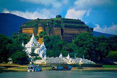 The Mingun Pagoda (in back) on the Ayeyarwady River near Mandalay, Burma
